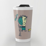 flower eats mouse travel mug