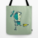flower eats mouse totebag